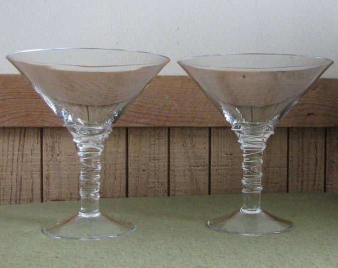 Vintage Martini Glasses Set of Two (2) Bar Glasses Swirled Stemmed Barware