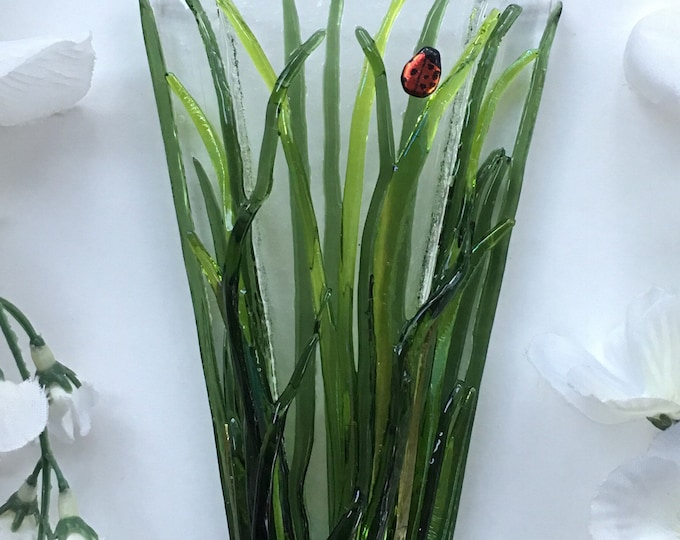 Small Grass with or without ladybugs. Wall Art, Fused Glass, Wall Vase, Glass Pocket