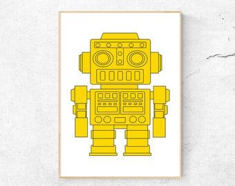 Yellow Robot Print, Nursery Decor, Printable Kids Art, Robot Poster for Kids, Digital Download, Modern Childrens Print, Nursery Art