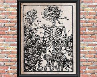 Grateful Dead Art Print Skeleton Roses Wall Decor Antique Vintage Rock and Roll Home Office Decor Printable Digital Download