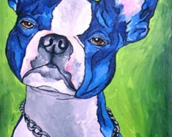 Boston Terrier Painting 12 x 24