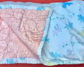 Soft Vintage Baby Play Mat Blanket. Reversible. Cotton and Satin.
