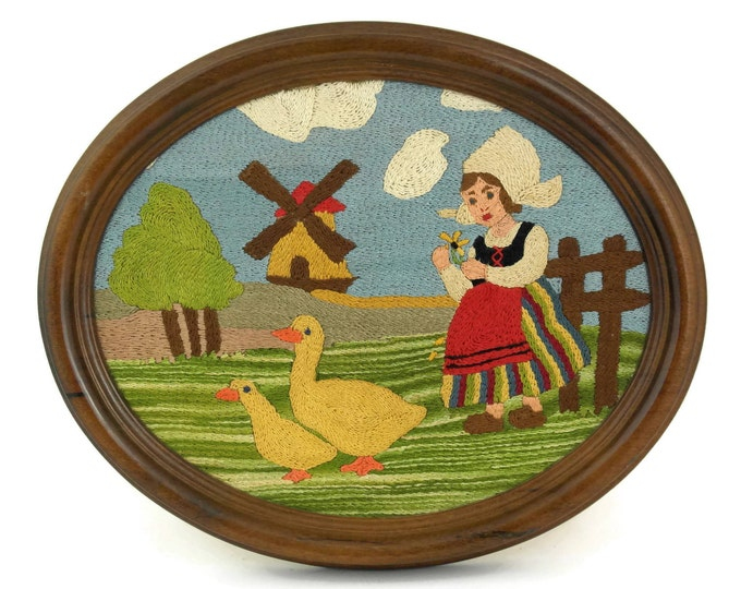 Vintage Windmill & Little Dutch Girl French Tapestry in Oval Frame.