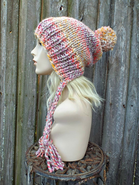 Chunky Knit Hat Womens Orchid Mustard Coral Slouchy Pom Pom Hat - Ear Flap Beanie Braided Ties Warm Winter Hat - Charlotte - READY TO SHIP