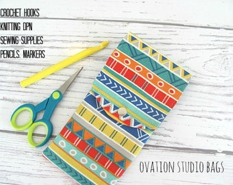 Crochet hooks case, DPN case, knitting needles case, pencil case, makeup brushes storage case