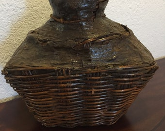 Large Antique Chinese Woven Oil Container
