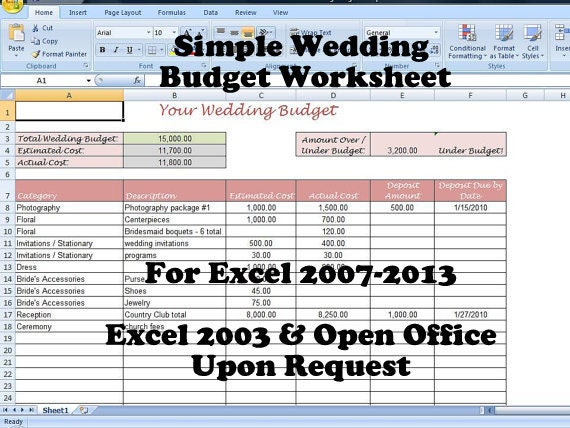 Simple Wedding Budget Worksheet Printable And Editable For