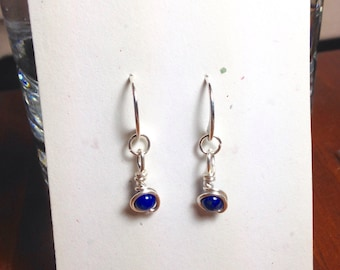 Fine Silver with Lapis, Dangle Earrings, Argentium Sterling Silver