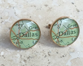 Dallas Texas Cufflinks  Bronze Antique Map Vintage Globe Cuff Links Gift for Him under 100