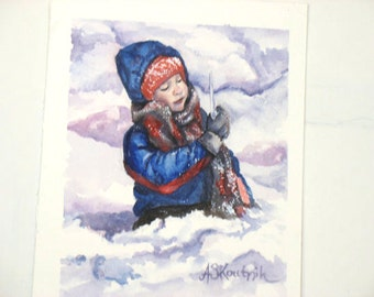 Greeting Card Original Watercolor, Winter Child Print Sets of 4, blank Art Notecards, Landscape Painting Stationery