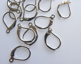 40 pcs Silver Plated Nickel-Free Leverback Earring Wires