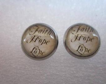glass cabochon 12 mm faith hope love