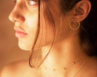 Gold hoop stud earrings - delicate hoop studs - minimal hoop stud earrings - dainty gold hoop studs - simple round stud earrings - earrings