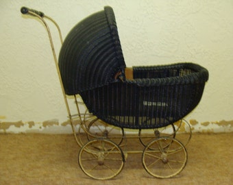 """Baby Carriage Antique buggy Vintage stroller Wicker carriage 1920""""s Baby stroller Lloyd Loom Baby buggy FogartyTreasures"""