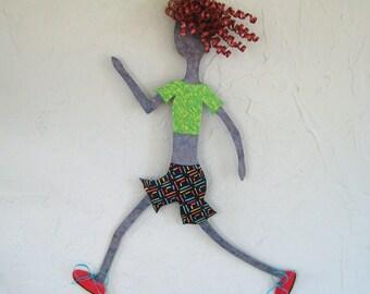 Metal Wall Art Sculpture Running Decor - Lady Runner - Reclaimed Metal Sport Theme Run Exercise Wall Art Blonde 13 x 19
