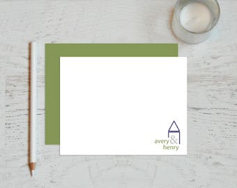 Personalized Stationary - Personalized Stationery - Couple Stationary - Personalized Note Cards - Notecard Set - Thank You / couple at home