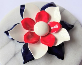 Vintage 4th of July Enamel Flower Pin Brooch, Large Red White & Blue Gold Tone Pin, Midcentury Flower Brooch, Independence Day Brooch, 1950s
