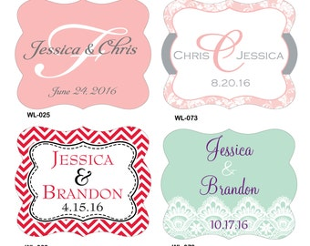 30 - 3x4 inch Die Cut Custom Wedding Wine Bottle Waterproof Labels - hundreds designs to choose - change designs to any color or wording