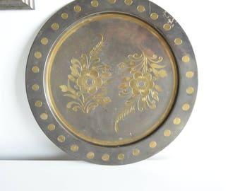 Round Brass Tray - Brass Inlay Platter - Chinoiserie Brass Tray - Brass Floral Inlay Tray - Brass Inset Serving Tray - Vintage Brass Tray