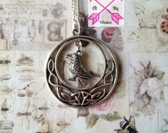 Celtic knot and crow necklace, Celtic knotwork pendant, Celtic knot pendant, Crow necklace, Crow pendant,
