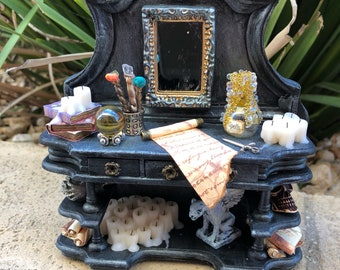 Gothic Spell Casting Armoire/Hutch w Melted Candles - Dollhouse Miniature