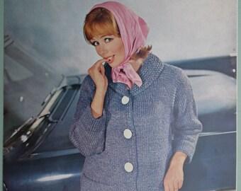 Vintage 1960s Knitting Pattern Women's Cardigan Jacket Coat 60s original pattern chunky bulky knit Bairnswear No. 995 UK