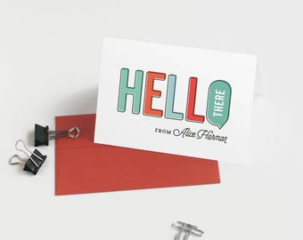 Hello Personal Stationery, Set of 12 Personalized Note Cards // HELLO THERE