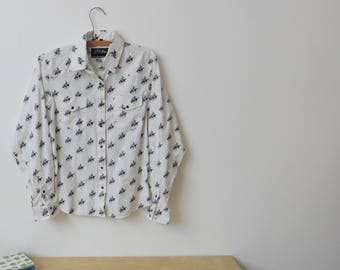 Vintage White Horse Western Shirt with Pearl Button Snap - Size XS