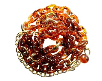 Plastic link chain, faux tortoise shell oval links