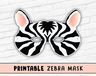 Zebra Printable Mask | Halloween Masks | Party Mask Costume