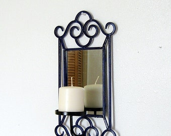 Wrought Iron Wall Mirror, Pillar Candle Holder, Candle Holder and Mirror, Cottage Decor, Cobalt Blue and Black, Blue Mirror