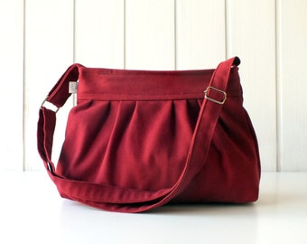 Pleated Bag in Burgundy, Small, adjustable strap, top ZIPPERED CLOSURE, for women, for her, holiday gift, christmas, xmas, gift for mom