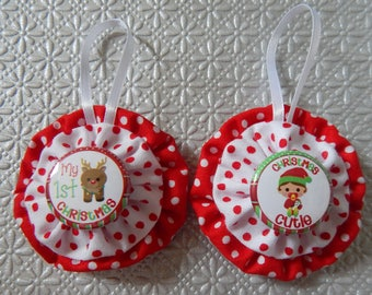 Baby's First Christmas Yo Yo Ornaments Set of 2 - White and Red Dots