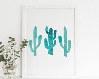 Cactus Artwork, Southwestern Decor, Nursery Print, Modern Nursery, Aqua Wall Artwork, Cactus Wall Decor, Printable Cactus, Desert Decor