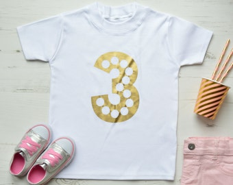 Gold Third Birthday Outfit Girl | 3rd Birthday Shirt | Toddler Girls Clothes | Glitz 3