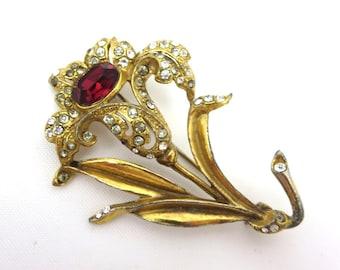 Pot Metal Brooch - Rhinestone Flower Costume Jewelry 1930s