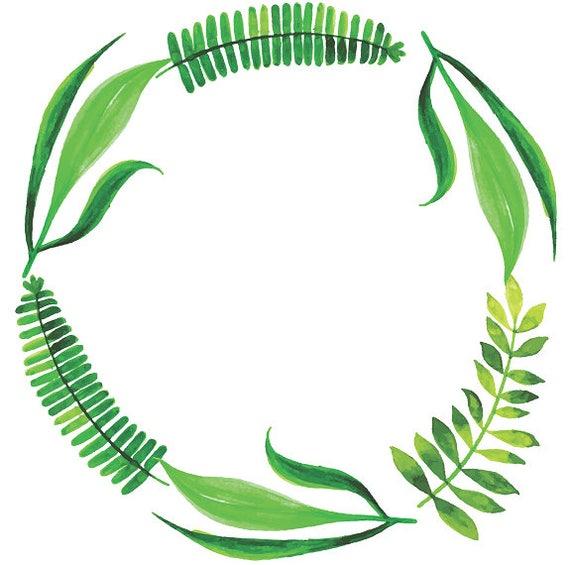 fern wreath tropical wreath watercolor leaves tropical clipart rh etsy com fern wreath clipart fern clip art free