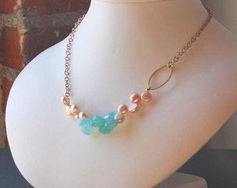 Aaliyah Matti Peruvian Blue Chalcedony Fresh Water Pearls Rose Gold Chain Necklace Set