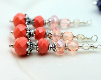 Vintge Style Coral Crystal Large Long Pendant, Dangle, Earring, Jewelry Pendant, Necklace Pendant