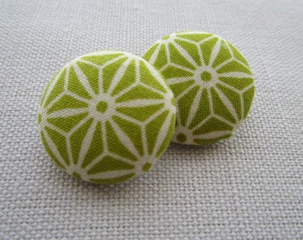 Lime Geometric Shank Buttons 29mm