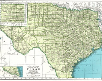 1946 Vintage TEXAS Map of Texas State Map Print Gallery Wall Art Map Collector Gift For Traveler Wedding Birthday 8476