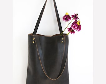 BROWN LEATHER tote bag - Leather Tote Bag - Brown Leather Shoulder Bag, handbag