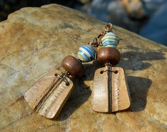 Paper Bead and Wood Bead Boho Earrings