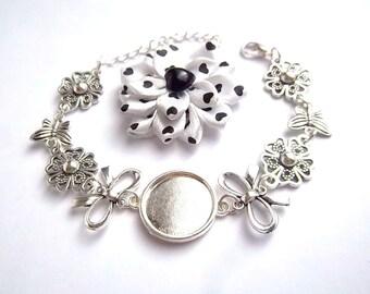 x bracelet holder silver cabochon 18 mm, BowTie, stylized, stylized flower, butterfly, reinforced rings