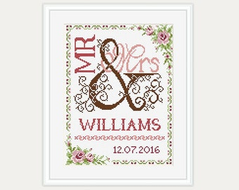 Wedding Cross Stitch Pattern - Gift for couple - Mr & Mrs- Cross Stitch Wedding - Embroidery- PDF - INSTANT DOWNLOAD
