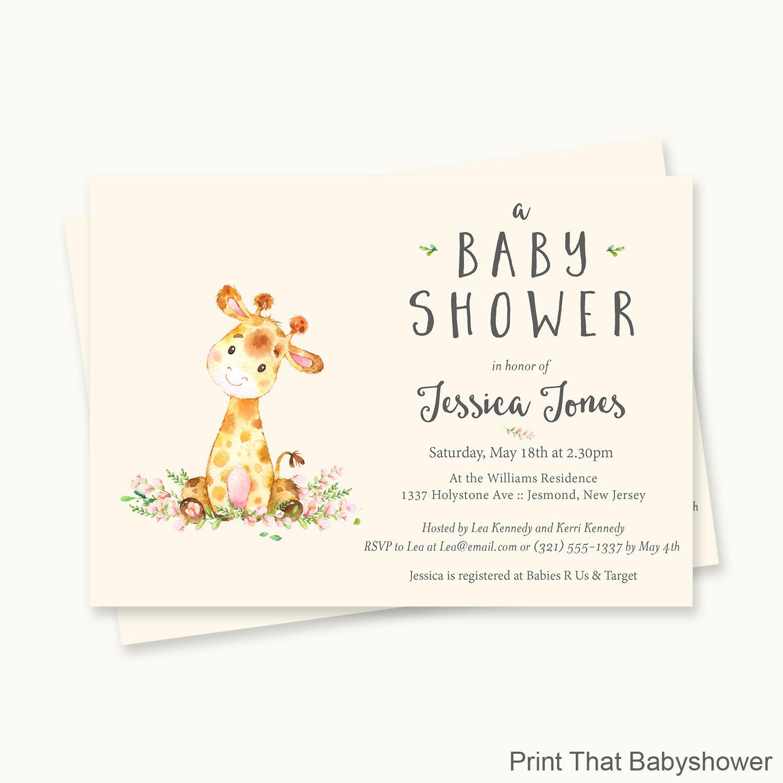 Giraffe Baby Shower Invitations Giraffe Baby Shower
