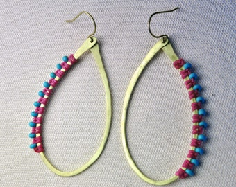 Hammered & Wrapped Brass Hoops in Pink/Turquoise