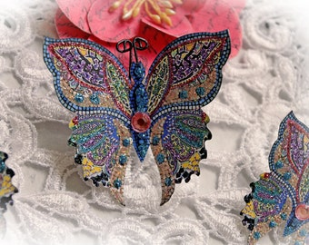 Reneabouquets Butterfly Set - Mosaic Tile Butterflies, Scrapbook Embellishment,  Wedding, Home Decor, Party Decoration