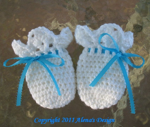Crochet Pattern 044 Baby Thumb Less Lace Cuff Mittens Crochet