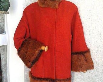 orange boiled wool and red fur coat